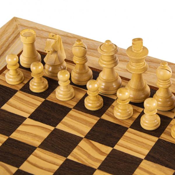 Schachset Olivenholz 85, in Geschenkbox, Schachfiguren mit Schachbrett 40x40cm