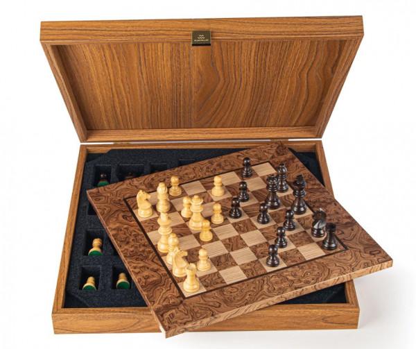 Schachset Nussbaumholz Burl 65, in Geschenkbox, Schachfiguren mit Schachbrett 34x34cm