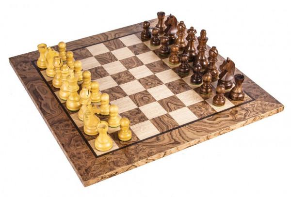 Schachset Nussbaumholz Burl 95, in Geschenkbox, Schachfiguren mit Schachbrett 50x50cm