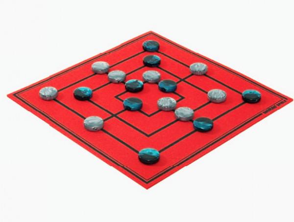 Mühle Brettspiel Aufgerollt rot aus hochwertigem Wollfilz 30x30cm, in Geschenkbox