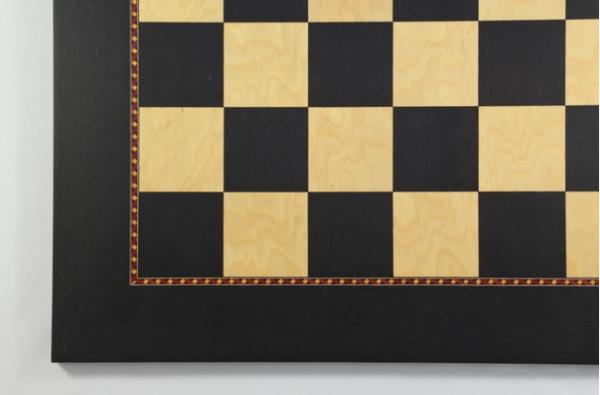 Exklusives Schachbrett, Feldgröße 60 mm, Intarsie, mit aufwändiger Zierader