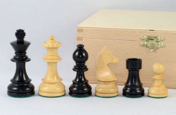 Schachfiguren Staunton schwarz beschwert, Königshöhe 76 mm, handgeschnitzter Springer