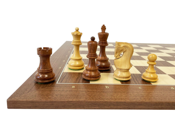 Schachset Akazie Opponent Tournament Königshöhe 95 mm, mit Schachbrett Nussbaum und Ahorn
