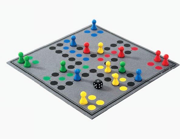Ludo Brettspiel Aufgerollt grau aus hochwertigem Wollfilz 30x30cm, in Geschenkbox