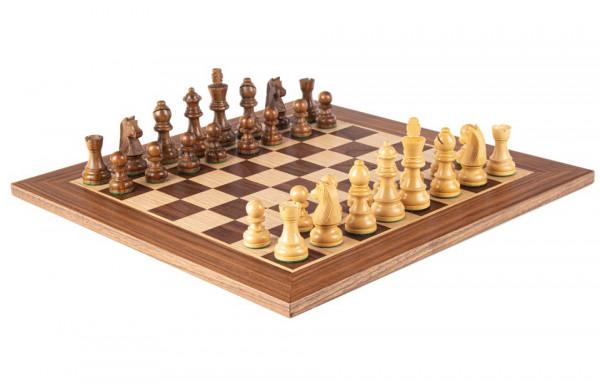 Schachset Pirc 65 Nussbaumholz, mit Schachfiguren und Schachbrett 34x34 cm