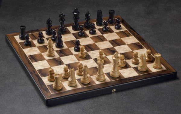 Schachkassette Ziricote und Vogelaugenahorn, Feldgröße 45mm