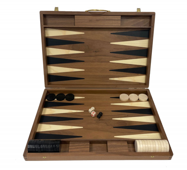 Backgammon Koffer in Nusswurzel, groß 46x31 cm