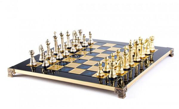 Schachspiel Staunton-Schachfiguren aus Metall und Schachbrett 44x44cm mit Geschenkbox aus Holz