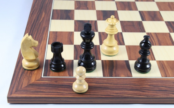 Schachset Mongoy Ebenholz, Schachfiguren 76mm mit Schachbrett 45x45cm