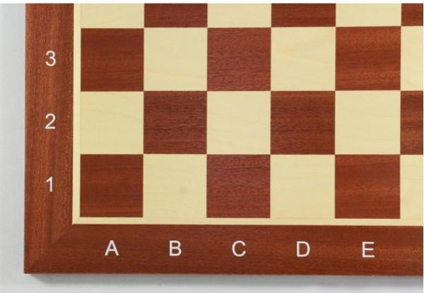 Schachbrett Mahagoni und Ahorn, Intarsie, matt lackiert, Feldgröße 47 mm, mit Zahlen und Buchstaben