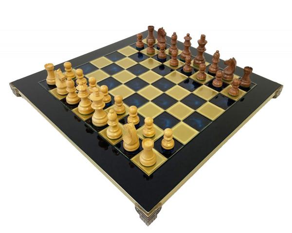Schachset Staunton mit blauen Messing Schachbrett, in Geschenkbox