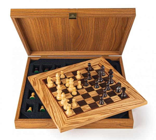 Schachset Olivenholz 65, in Geschenkbox, Schachfiguren mit Schachbrett 34x34cm