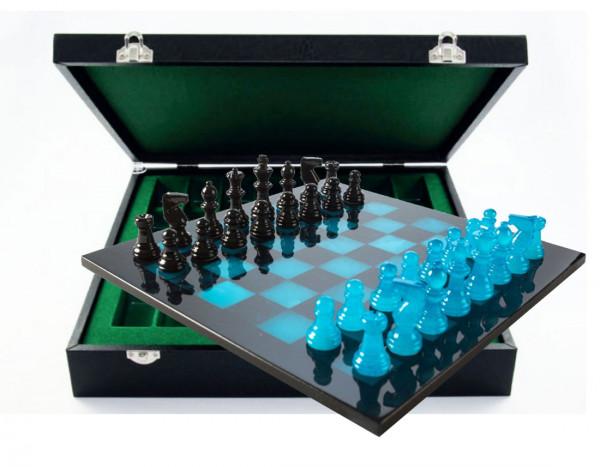 Schachspiel aus Alabaster blau und schwarz, mit Geschenkbox Etui aus Kunstleder