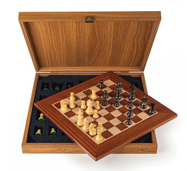 Schachset Mahagoni 65, mit Geschenkbox, Schachfiguren mit Schachbrett 34x34cm