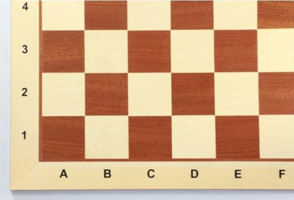 Schachbrett Turnier, Mahagoni und Ahorn, Intarsie, matt lackiert, Feldgröße 58 mm, mit Zahlen und Bu