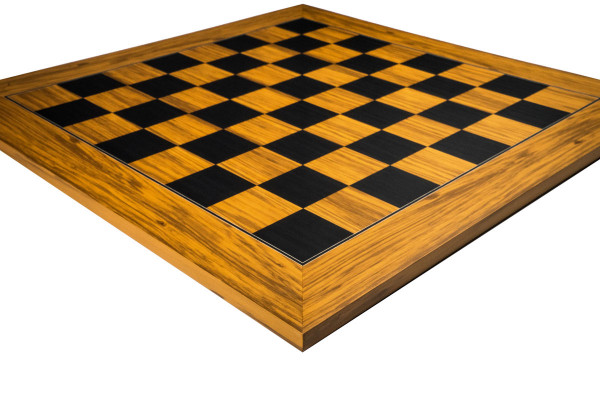 Exklusives Schachbrett aus Olivenholz und Pappel schwarz, Feldgröße 55 mm
