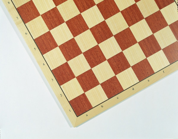 Turnier-Schachbrett Mahagoni und Ahorn, Feldgröße 55 mm, Intarise, mit Buchstaben und Zahlen