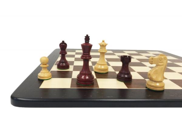 Schachset Wenge mit Schachfiguren in Rotholz und Schachbrett 48x48 cm