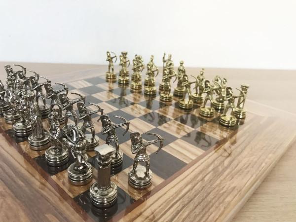 Schachset Olivenholz Bogenschützen Schachfiguren und Schachbrett, mit Geschenkbox