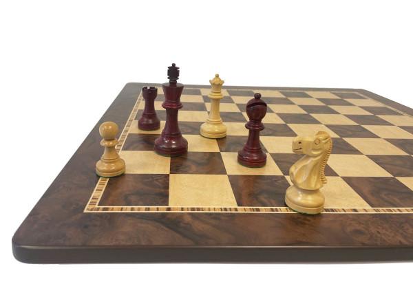 Schach-Set Staunton mit Schachfiguren in Rotholz und Schachbrett Nussbaum