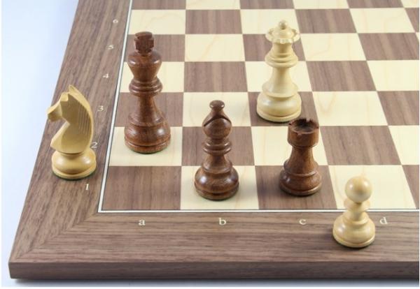 Schach Set No. 2/23 Akazie und Buchsbaum Königshöhe 95 mm, Tournament, mit Zahlen und Buchstaben