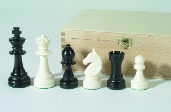 Schachfiguren-Kunststoff, KH 95 mm, Buche-Kassette