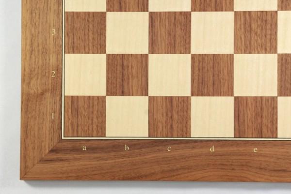 Schachbrett Nußbaum und Ahorn, Intarsie, matt lackiert, Feldgröße 45 mm, mit Zahlen und Buchstaben