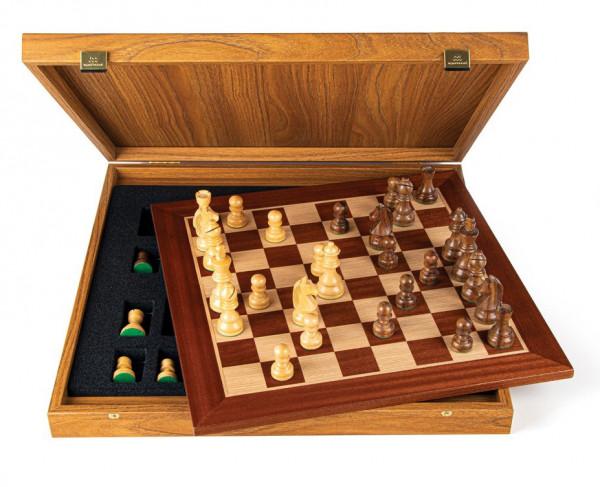 Schachset Mahagoni 85, mit Geschenkbox, Schachfiguren mit Schachbrett 40x40cm