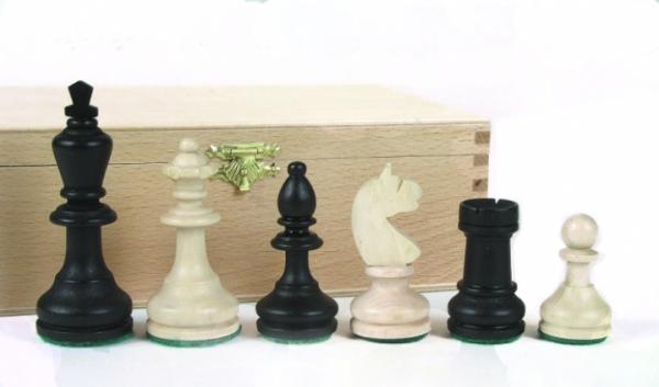 Schachfiguren Bohemia Staunton schwarz, Königshöhe 96mm, in Buchekassette