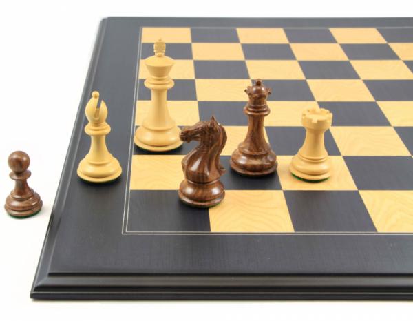 Schachset: Schachfiguren Talos mit Schachbrett Anigre schwarz und Esche Intarsie, Profilrand