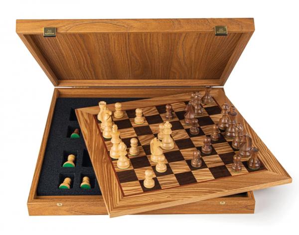 Schachset Olivenholz 95, in Geschenkbox, Schachfiguren mit Schachbrett 50x50cm