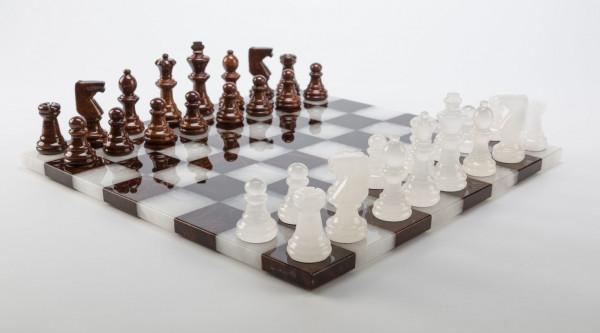 Schachspiel aus Alabaster braun und weiss, KH=75mm