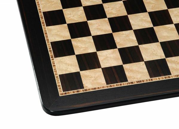 Schachbrett Feldgröße 45 mm, Spielfeld aus Ebenholz und Vogelaugenahorn