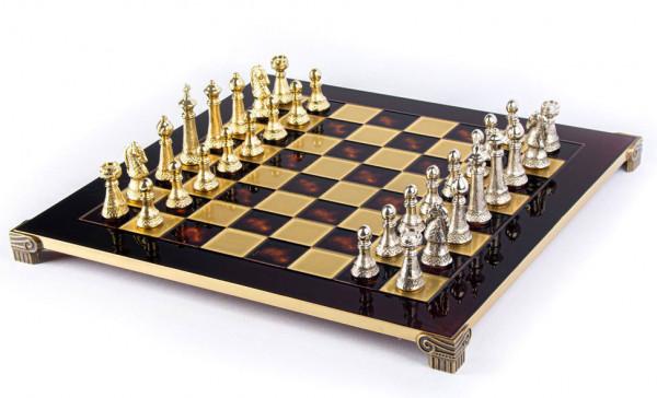 Schachspiel Staunton-Schachfiguren Red aus Metall und Schachbrett 44x44cm mit Geschenkbox