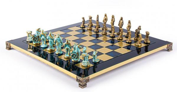 Archaik Schachset, Metall Schachfiguren und Messing Schachbrett mit Geschenkbox