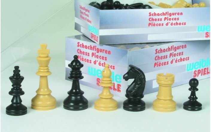 Schachfiguren Königshöhe 90mm Kunststoff Turnier schwarz-beige