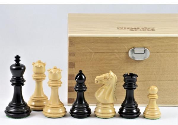 Schachfiguren 'Imperial' Buchsbaum schwarz und Natur, Königshöhe 95 mm, mit Holzkasten