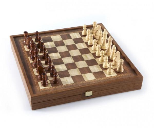 Combo Schachkassette mit Holzschachfiguren und Backgammon, Kompakt