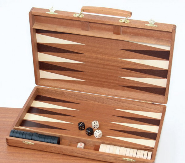 Backgammon Koffer Mahagoni feine Intarsie, 38x25 cm