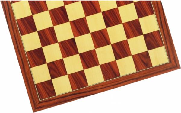 Schachbrett Abachi und Ahorn, Intarsie, matt lackiert, Feldgröße 50 mm