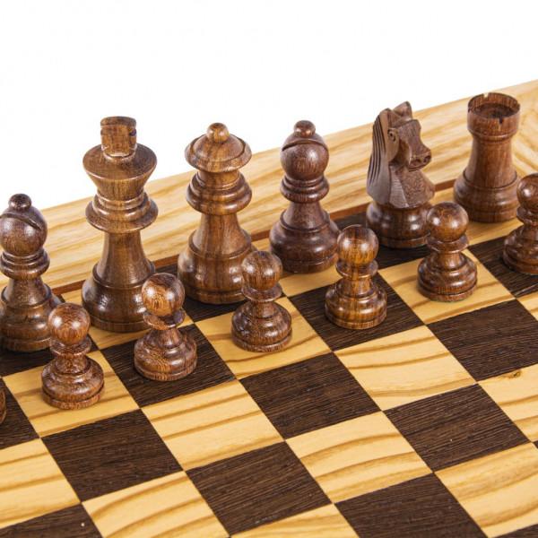 Schachset Olivenholz Staunton 65, Schachfiguren mit Schachbrett 34x34 cm