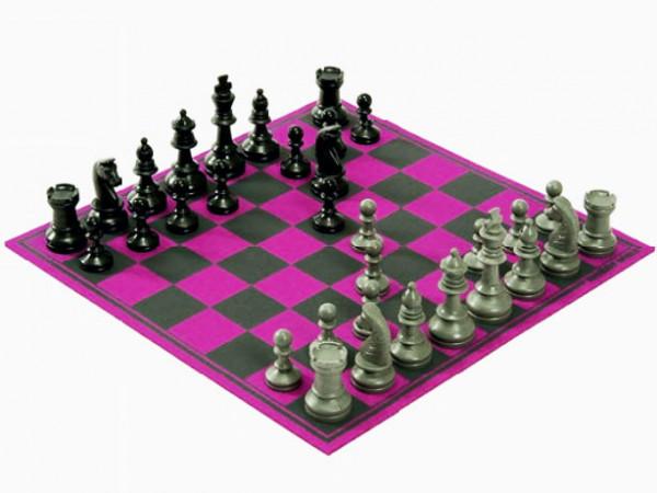 Schachspiel Aufgerollt Pink aus hochwertigem Wollfilz 30x30cm, in Geschenkbox