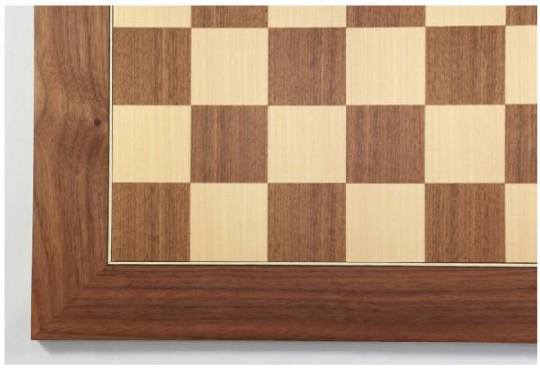 Schachbrett Nußbaum und Ahorn, Intarsie, matt lackiert, Feldgröße 45 mm