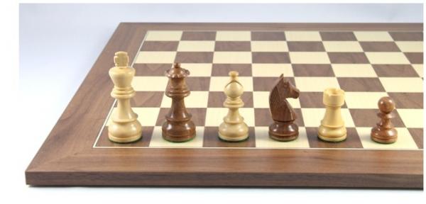 Schach Set No. 2/13 aus Akazienholz und Buchsbaum, Königshöhe 79 mm