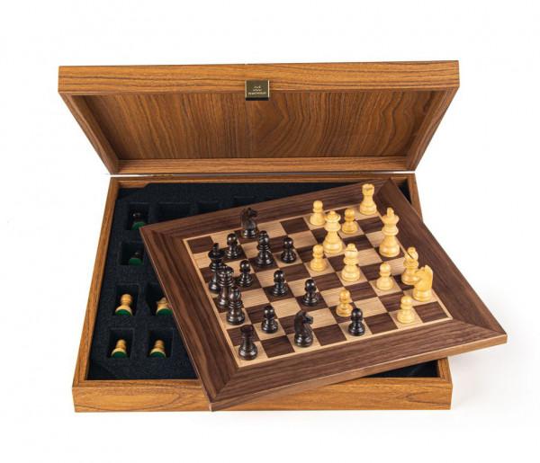 Schachset enPassant 65 Nussbaumholz, mit Geschenkbox, Schachbrett 34x34cm