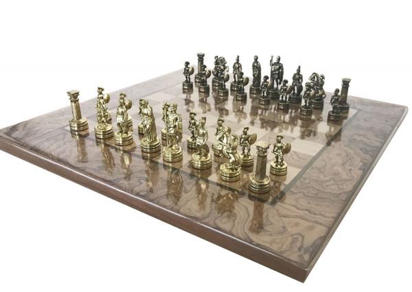 Schachset Römer/Griechen Schachfiguren und Schachbrett aus Nussbaumholz, mit Geschenkbox