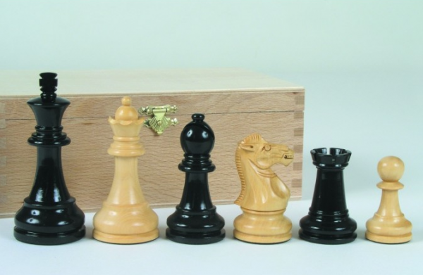 Schachfiguren Grand-Staunton, schwarz 95 mm
