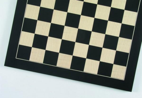 Schachbrett Anigré schwarz und Ahorn, Intarsie, matt lackiert, Feldgröße 45 mm