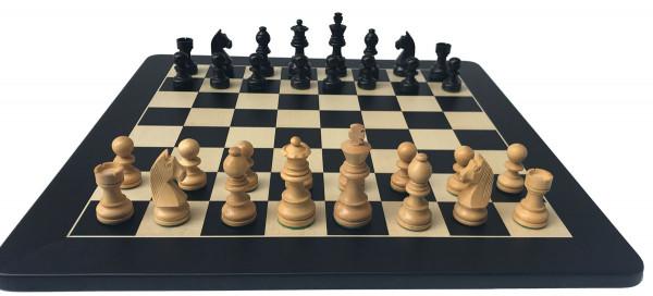 Schachset Black Staunton 75 Classic, Schachfiguren mit Schachbrett