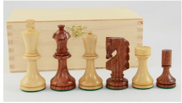 Schachfiguren 'Rih Design' - Königshöhe 89 mm, handgeschnitzte Springer, beschwert